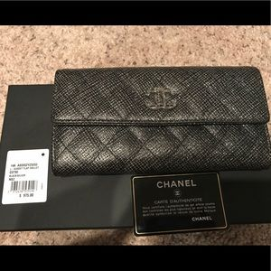 CHANEL Flap Gussett Wallet Quilted Diamond Large